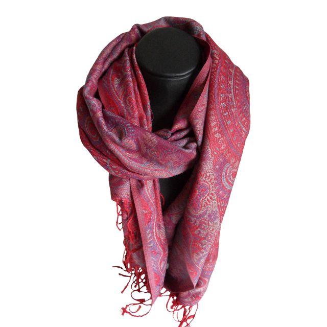 09746a4168243d Schals: Schal Pashmina Kreise Farbe rot lila grau Creme